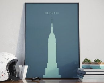 New York Empire State Building, Sea Blue Edition. Print. Poster.