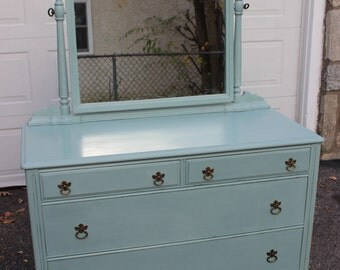 Duck Egg Blue Vintage Dresser with Mirror