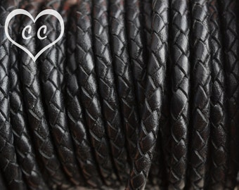 Black/ 4mm Bolo Braided Leather Cord / leather by the yard / round leather cord / genuine leather / necklace cord / bracelet cord