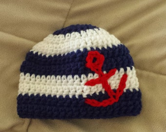 Anchors Away Hat - Newborn, Baby, Toddler, Child, Adult
