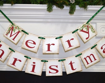Christmas Decorations, Merry Christmas banner, Holiday Banner, Christmas Garland, Christmas Photo prop Antique Christmas banner