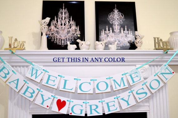 Baby shower decorations welcome baby banner shower for Welcome home baby shower decorations