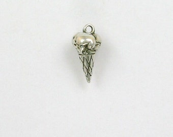Sterling Silver 3-D Ice Cream Cone Charm