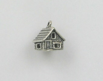 Sterling Silver 3-D 12mm Log Cabin Charm