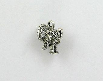 925 Sterling Silver Turkey Charm, Animals & Birds Theme Jewelry - b35