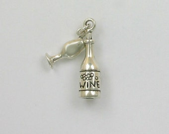 Sterling Silver 3-D Wine Bottle & Glass Charm