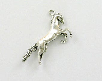 Sterling Silver 3-D Rearing Horse Charm
