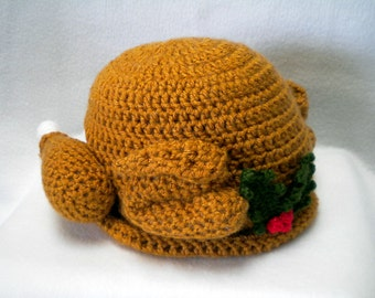 Crocheted Roast ChristmasTurkey hat