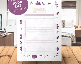 To Do List Printable, To Do List Notebook ,PRINTABLE PDF, To Do Planner Inserts, To Do List Notepad, printable planner pages, A5, A4, 2017
