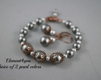 Fall Bridesmaid Bracelet with Earrings set, Swarovski pearls, Gift for Bridal Party, Antique Copper Jewelry, Pearl bracelet set