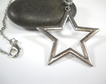 Large Star Necklace, Antique Silver Tone Star Pendant Necklace, Celestial Jewelry, Gift for Men, Men's Necklace, Women's Necklace