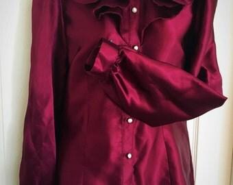 Gothic Satin Ruffle Collar Shirt ( Made To Order )