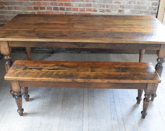 Farm Dining Table Handcrafted, Reclaimed Chestnut, Rustic Style, Custom Sizes