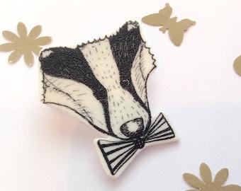 Badger Brooch - Shrinky Dink Mr Badger, Bow Ties Are Cool, Geek Badger, Shrink Plastic Jewellery.