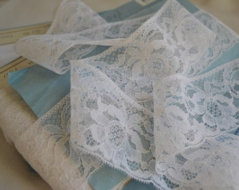 4 yards Unused White French Vintage 1940s Lace, Rhodiaceta, 2 inches wide