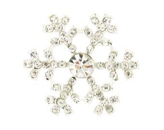 10 x Crystal Diamante Rhinestone Snowflake Embellishments Christmas Cards & Winters Weddings (EM27)