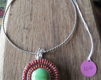 Sterling Silver Natural Coral And Lime Turquoise Circle Slide Pendant Necklace (1016)