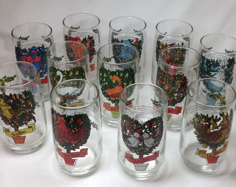 Vintage Anchor Hocking Twelve Days of Christmas Complete Drinking Glass Set of 12 Images Partridge in Pear Tree Holiday Theme Song