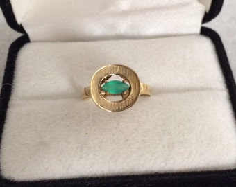 Antique 14K Gold Genuine Green Onyx Marquise Cut Gemstone Ring 585 Solid Gold