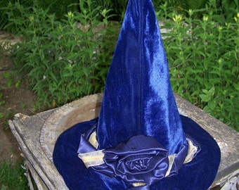 Luxury Midnight Blue Velour Tall Witch Hat