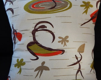 "Atomic Barkcloth Pillow Cover ""Dancers II"" Mid Century Modern Authentic 50's"