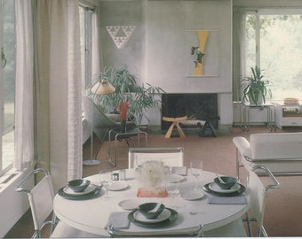 Unused Postcard, Dining Room and Living Room, Gropius House, Lincoln, Massachusetts, c1980s, good shape