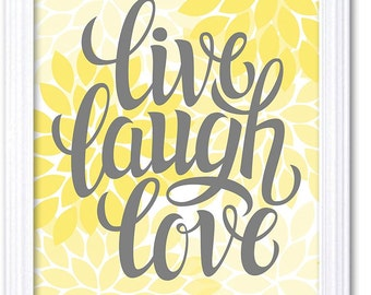 Home Decor Wall Art Bathroom Wall Decor Yellow Grey Live Laugh Love Chrysanthemum Flower Print Poster