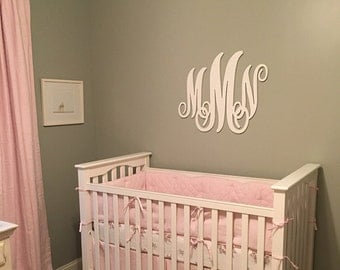 Large wall letters script monogram wooden wall monogram for Large wall letters for nursery