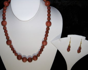 A Beautiful Brown Sunstone Necklace and Earrings. (2016166)
