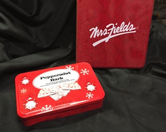Peppermint Bark and Mrs. Fields Tins