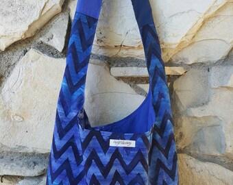 Batik, ombre, chevron across the body hobo bag.  Hobo purse, boho bag,  slouch bag,  hippie bag,  hobo bag in shades of Blues and navy.