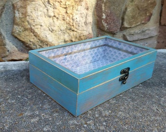 Jewelry Box, Shabby Chic Jewelry Box, Teal Jewelry Box, Vintage Jewelry Box, Teal, RobinsStudio, Shabby Chic, Recycled Box, Vintage Box