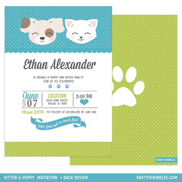 Lime Green and Teal Kitten & Puppy Party Collection - Boy or Girl ...