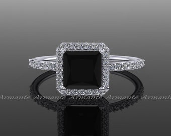 Princess Cut Black Diamond Engagement Ring, White And Black Diamond 14k White Gold Halo Ring, Wedding Ring Re0010