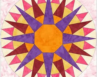 Full Rising Sun Paper Piece Templates Quilting Block Pattern PDF