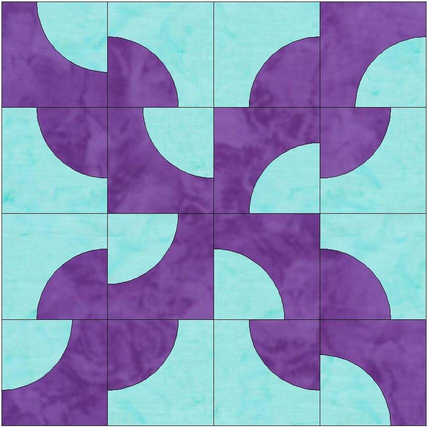 Drunkard S Path Block Paper Templates Quilting Block