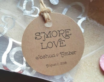 Personalized Favor S'more Love Tags 2'', Wedding tags, Thank You tags, Favor tags, Gift tags, Bridal Shower Favor Tags, s'more love