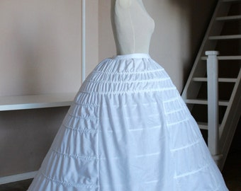 Crinoline white Victorian dress, 1860 Elliptical + Pad with metal slats