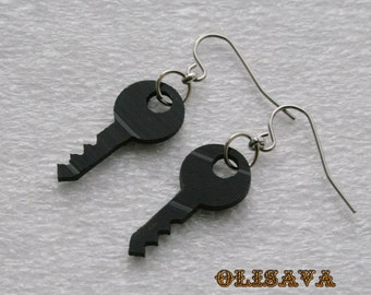 Vinyl record earrings , Vinyl record jewelry ,  recycled jewelry  earrings , keys earrings