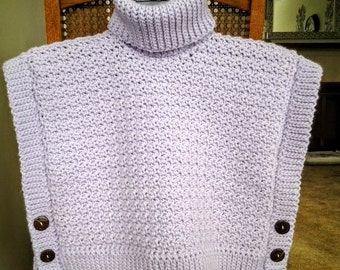 """Crochet Poncho for You and Me - LIttle Girls' and 18"""" Dolls / Turtleneck Poncho"""