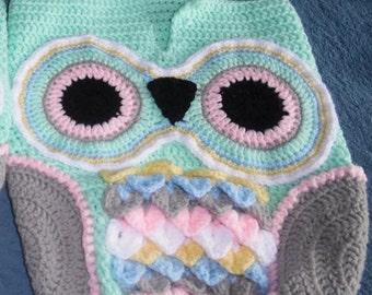 Crochet Owl Baby Bunting & Beanie