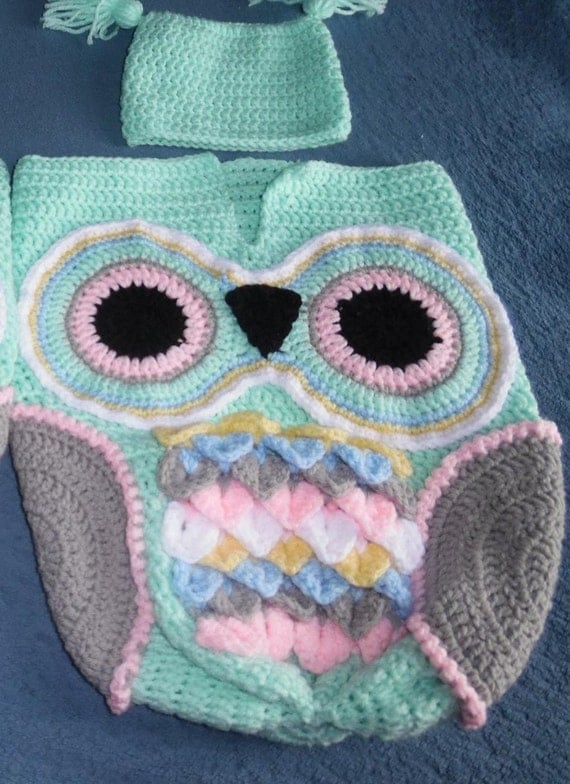 Crochet Pattern For Minion Baby Outfit : Crochet Owl Baby Bunting & Beanie