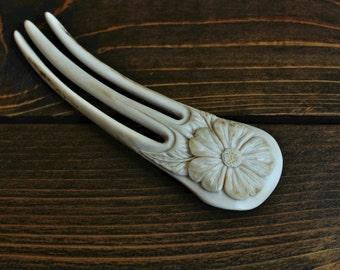 Flower Hair Fork - Carved from Antler