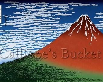 Red Fuji - From the series Thirty-six Views of Mount Fuji - 冨嶽三十六景  凱風快晴, Ukiyo-e woodblock print.