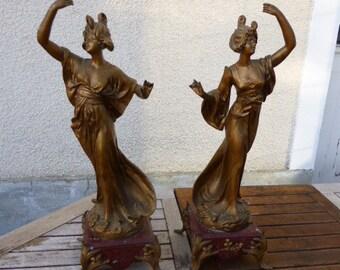 Two statuettes signed by Emile Bruchon, Women, art nouveau,
