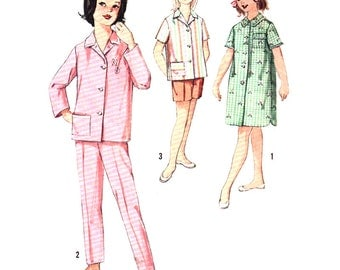 Simplicity Sewing Pattern 4237 Girl's Pajamas in two lengths, Nightshirt - estimated vintage 1960's  Size:  14  Used