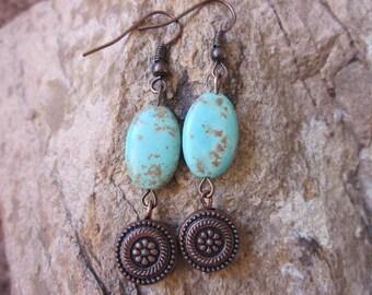 bohemian earrings  Turquoise earrings boho earrings bohemian jewelry stone earrings copper earrings bohemian earrings