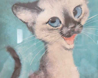 "Vintage Girard (Gig) Goodenow Siamese Cat Kitty Print ""Yah Don't Say""  Framed Art"
