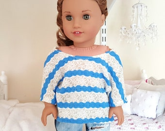 american girl doll striped slouchy top