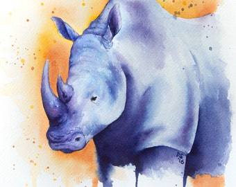 "FINE ART PRINT - 8x10"" Rhicoceros Watercolor Painting"